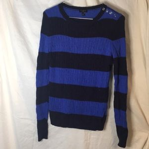 Talbots blue black striped buttoned sweater